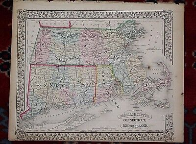Massachusetts Connecticut and Rhode Island Antique 1870 Mitchell's Atlas Map