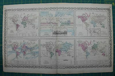 Versions of the World Vintage Original Antique 1870 Colton World Atlas Map