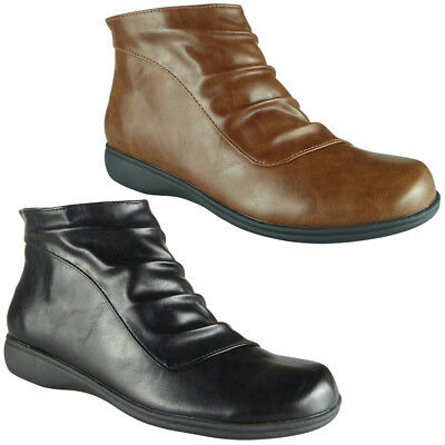 Womens Boots Zip Low Ankle Ladies Low Heel Chelsea Work Casual Bootie Shoes Size