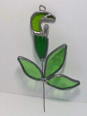HANDCRAFTED Stained Glass JACK IN THE PULPIT SUN CATCHER Window ORNAMENT Flower