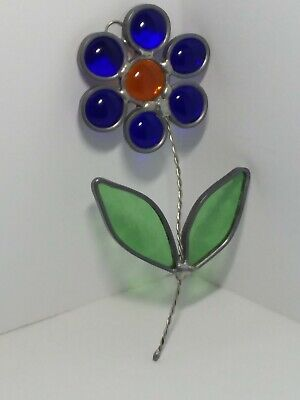 HANDCRAFTED Stained Glass BLUE BEAD FLOWER SUN CATCHER Window Decor ORNAMENT #2