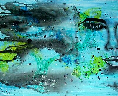 """Original Mixed Media Painting Of """"Woman's Face With Abstract Background"""""""