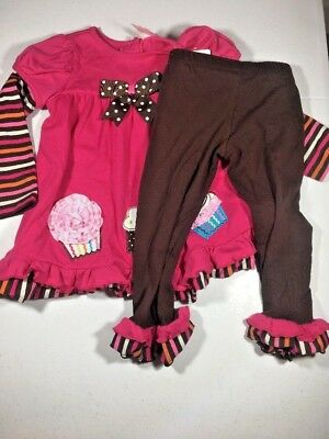Rare Too Girls Outfit Long Sleeve Top Size 4T Leggings Brown Pink