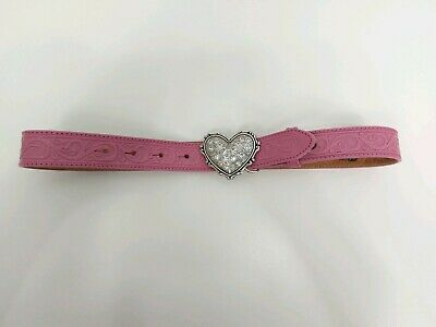 "Justin Pink Tooled Leather Belt Silver Tone Heart Buckle Woman's Girls 25""-29"""