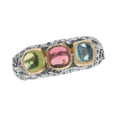 Gerochristo 2768N ~ Solid Gold & Sterling Silver Multi Stone Band Ring