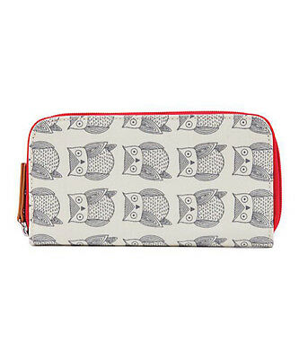 Pink Lining White & Gray Owl Wallet  NWT
