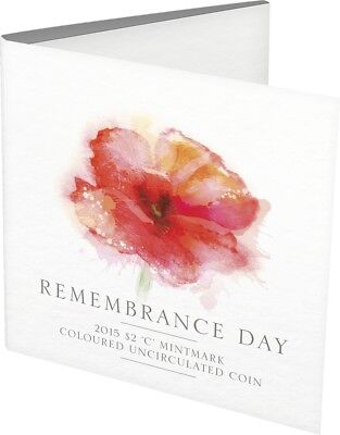 2015 Ram Coloured Uncirculated $2 Coin 'c' Mintmark - Remembrance Day