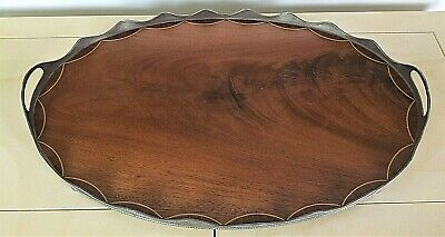 Antique Inlaid Flame Mahogany + Stamped Silver George III Handled Serving Tray