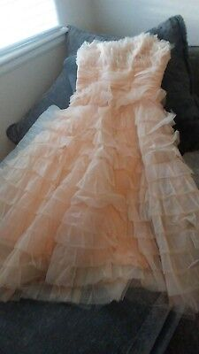 Vintage 1950's 50s STRAPLESS Pink Tiered Chiffon Prom Party Wedding Dress Gown