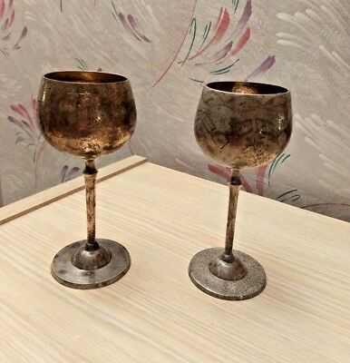 Vintage Wazir Chand Set of 2  Silverplate  EPNS Cups Goblets India