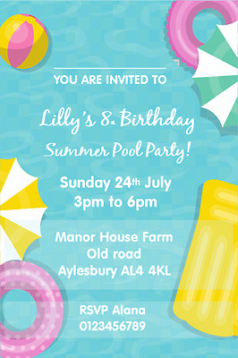 PERSONALISED POOL SWIMMING Party Birthday Invitations X 10