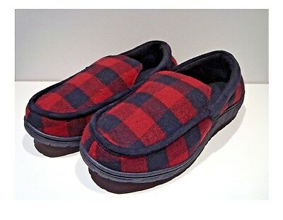 bac178332de Totes Toasties Men s Memory Foam Slippers Red Plaid Soft Warm Lining