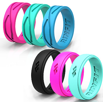 Silicone Wedding Rings / Wedding Bands- Rubber 6 PC-Women  Rinfit