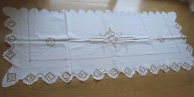 Antique Edwardian Cutwork Embroidery White Linen Bed Scarf Table Runner  32 X 80