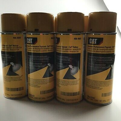 12 Cans Oem New  Cat Yellow Paint Aerosol Spray Cans 458-9587