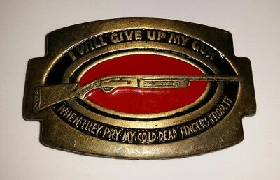 Vintage I Will Give up My Gun When They Pry NRA Brass Belt Buckle Red Enamel