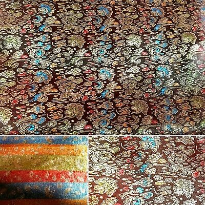 Brown and Gold Embroidered Silky Satin Oriental Floral Brocade Fabric UK SELLER