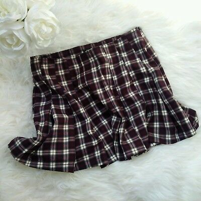 a7be8984cbfeb0 FOREVER 21 PLAID pleated skater skirt brown white - $30.00 | PicClick