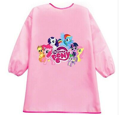Kid Girl Child water resist Little Pony Bib School Apron Art Paint Smock Shirt