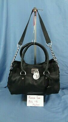 06962fa3031 MICHAEL KORS BLACK Leather Medium Voyager Open Top Tote Bag Purse ...