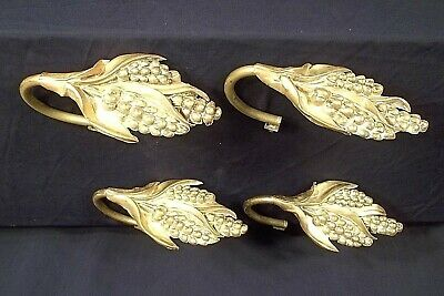 ANTIQUE SET OF 4 MID 19th CENTURY EMBOSSED BRASS CORNSTALK CURTAIN TIEBACKS