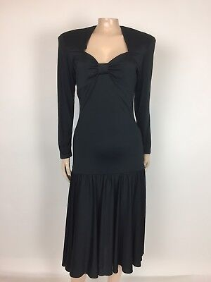 Vintage 80's Women's Dress Vanity 28 Black Drop Waist Formal Polyester X4-16