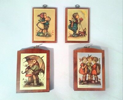 Vintage Wood Plaque Wall Decor with Hummel Pictures Set of 4