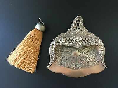 Vintage Victorian Style Pierced Crumb Tray Dust Pan w/ Broom Table Sweeper Set