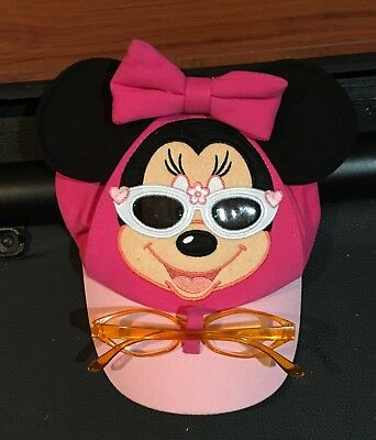 Disney Parks MINNIE MOUSE Wearing Sunglasses Pink Hat Soft Ears Toddler New