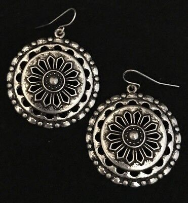 Designer STATEMENT Earrings Antique Silver Tone Premier Chic Fashion Jewelry 12N