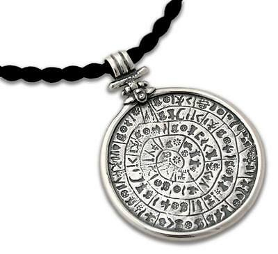 PHAISTOS Disk Silver Pendant with Choker ~Ancient Minoan Art ~  XXL