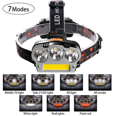 RECHARGEABLE 3* XML-T6+COB LED HEADLAMP HEADLIGHT TORCH FLASHLIGHT Hiking 18650