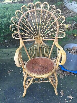 Rattan Peacock Chair Vintage Art Deco Rare Survivor