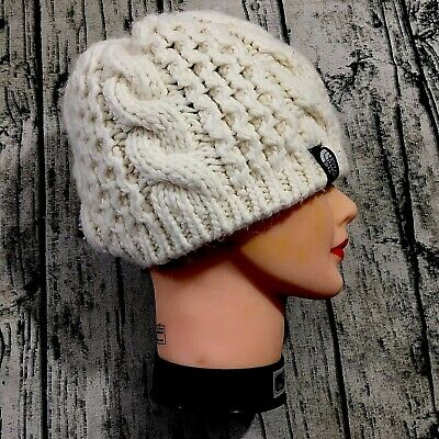 The North Face Knit Beanie One Size Unisex Creme Alpaca Wool Cable Winter Hat