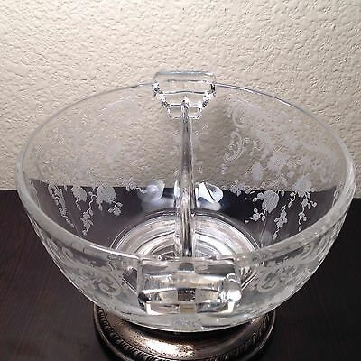 "SHEFFIELD SILVER CO Sterling & ETCHED GLASS 5 1/2"" CANDY DISH sectional"