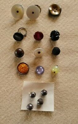 16 Antique Vintage buttons glass metal beaded mother of pearl fabric dressmaking