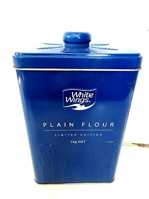 WHITE  WINGS  PLAIN  FLOUR  LIMITED  EDITION  EMBOSSED  EMPTY  TIN  19.5cm.