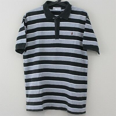 4216aeed A Bathing Ape BAPE Mens Large General Made In Japan Striped Polo Shirt K126
