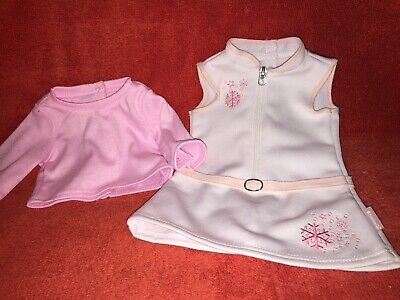 American Girl Doll Pink  Snowflake White Dress With Pink Shirt