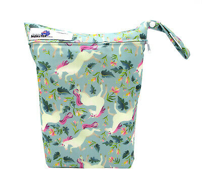 Unicorns Large Zip Dry & Wet Bag - Baby Cloth Nappies, Waterproof