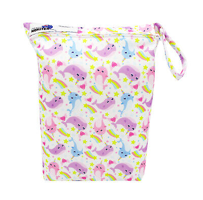 Rainbow Whales Zip Dry & Wet Bag - Baby Cloth Nappies, Waterproof