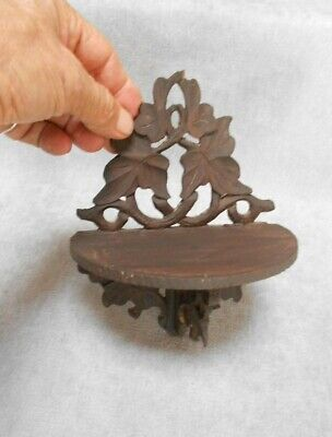 BLACK FOREST French Antique carved WOOD PETITE SHELF