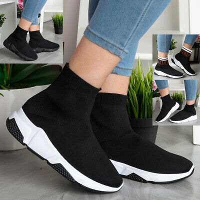 Ladies Running Trainers Women Flat Pumps Sports Gym Slip On Sock Shoes Size