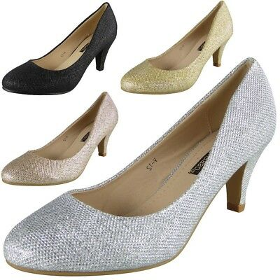 Women Bridesmaid Court Shoes Ladies Mid Heel Wedding Party Glitter Bridal Size