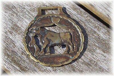Antique Early 1900's English Brass Harness Ring Rare BULL Design