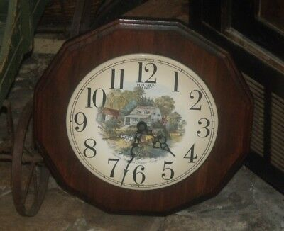 Vtg Verichron Currier & Ives American Homestead Summer Wooden Wall Clock Plaque