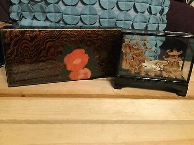 Vtg Oriental WOODEN carved Birds Glass /Black Laquer Trinket Box Painted Flowers