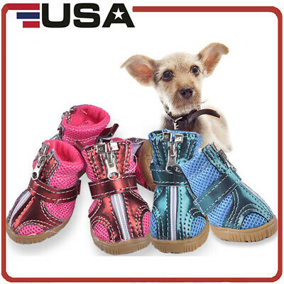 4pcs Dog Shoes Small Puppy Anti-slip Mesh Boots Booties for Snow Rain Breathable