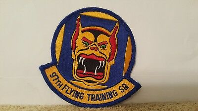 USAF 97TH FLYING TRAINING SQ PATCH  /'DEVIL CATS/'   HOOK /& LOOP        FULL COLOR