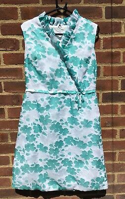 Vintage 1960's Sundress Floral Green White Mod GoGo Vintage Events 12 U.K. Made